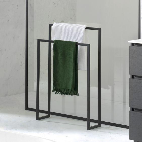 Zwart gepoedercoate handdoekrek